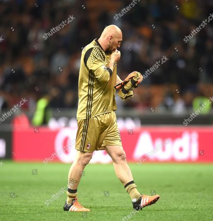 Milan's Goalkeeper Christian Abbiati at the End of the Serie a Soccer Match Between Ac Milan and As Roma at the Giuseppe Meazza Stadium in Milan Italy 14 May 2016 Italy Milan