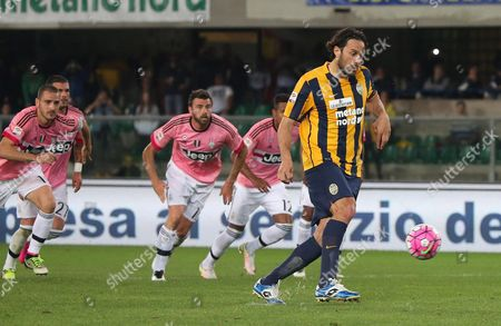 Verona's Forward Luca Toni Scores on Penalty the Goal of 1-0 During the Italian Serie a Soccer Match Hellas Verona Fc - Juventus Fc at Bentegodi Stadium in Verona Italy 08 May 2016 Italy Verona