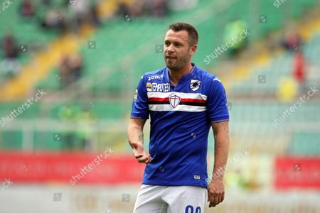 Sampdoria's Antonio Cassano Reacts During the Italian Serie a Soccer Match Between Us Palermo and Uc Sampdoria at Renzo Barbera Stadium in Palermo Italy 01 May 2016 Italy Palermo