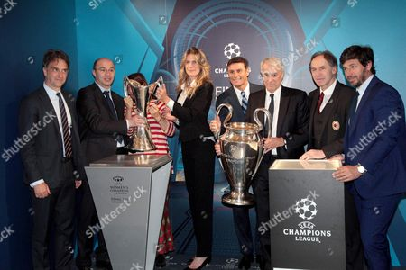 Former Soccer Players Demetrio Albertini (r) Franco Baresi (2nd R) Xavier Zanetti (4th R) with Milan's Mayor Giuliano Pisapia (3rd R) and General Manager of Italian Football Federation (figc) Michele Uva (l) Pose with the Uefa Champions League Trophies at Palazzo Marino in Milan Italy 22 April 2016 Ahead of the 2016 Final Match on 28 May at the Meazza Stadium in Milan Italy Milan