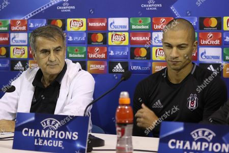 Besiktas' Coach Senol Gunes (l) and Midfielder Gokhan Inler Attend a Press Conference at San Paolo Stadium in Naples Italy 18 October 2016 Besiktas Istanbul Face Ssc Napolil in an Uefa Champions League Group B Match on 19 October Italy Naples