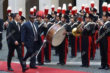 Italian Premier Matteo Renzi (l) Welcomes Somali Prime Minister Omar Abdirashid Ali Sharmarke (r) at Chigi Palace Premier's Office in Rome Italy 15 March 2016 Italy Rome