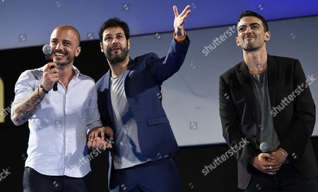 (l-r) Italian Actors Nicolas Vaporidis Matteo Branciamore and Primo Reggiani on the Stage During the 'Taormina Cariddi Award' During a Ceremony at the Teatro Antico As Part of the 62nd Annual Taormina Film Festival Taormina Sicily Island Italy Late 17 June 2016 the Festival Runs From 11 to 18 June Italy Taormina