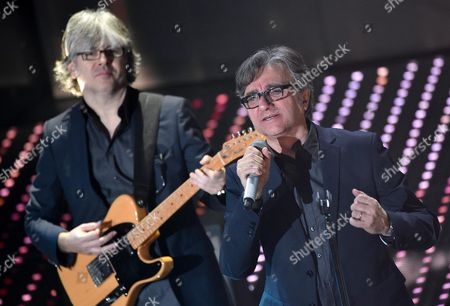 Member of Italian Band Stadio Gaetano Curreri (r) Performs on Stage During the Tv Show 'Domenica In' at the Ariston Theater in Sanremo Italy 14 February 2016 Italy Sanremo (im)