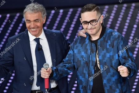 Italian Singer Rocco Hunt (r) and Italian Tv Host Massimo Giletti React on Stage During the Tv Show 'Domenica In' at the Ariston Theater in Sanremo Italy 14 February 2016 Italy Sanremo (im)