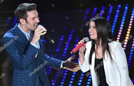 Italin Singers Giovanni Caccamo (l) and Deborah Iurato Perform During the Tv Show 'Domenica In' at the Ariston Theater in Sanremo Italy 14 February 2016 Italy Sanremo (im)