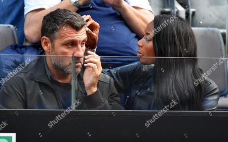 Former Italian Soccer Player Christian Vieri (l) and His Girlfriend Us Model Jazzma Kendrick (r) Attend the Semi Final Match Between Serena Williams of the Usa and Irina-camelia Begu of Romania During the Italian Open Tennis Tournament at the Foro Italico in Rome Italy 14 May 2016 Italy Rome