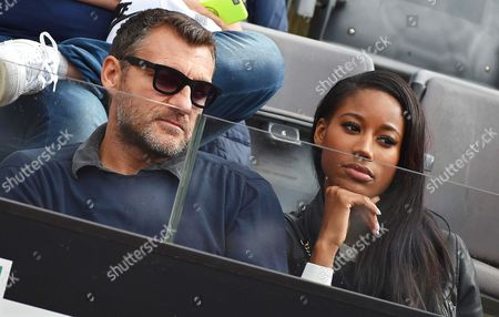 Stock Image of Former Italian Soccer Player Christian Vieri (l) and His Girlfriend Us Model Jazzma Kendrick (r) Watch the Semi Final Match Between Serena Williams of the Usa and Irina-camelia Begu of Romania During the Italian Open Tennis Tournament at the Foro Italico in Rome Italy 14 May 2016 Italy Rome