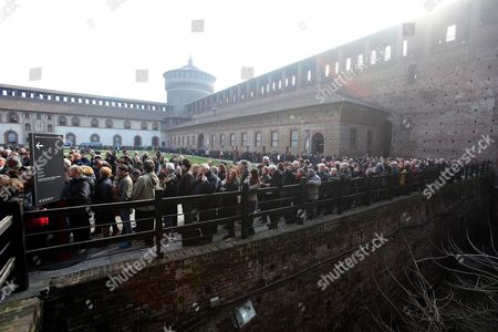People Stand in Line to Enter the Courtyard of the 15th-century Sforza Castle to Attend the Funeral of Italian Author Umberto Eco in Milan Italy 23 February 2016 the Non-religious Funeral of the Writer and Academic is to Be Held in the Courtyard Eco Died at the Age of 84 on 19 February After a Battle with Cancer Italy Milan