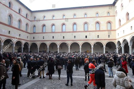 People Arrive to Attend the Funeral of Italian Author Umberto Eco in Milan Italy 23 February 2016 the Non-religious Funeral of the Writer and Academic is to Be Held in the Courtyard of the 15th-century Sforza Castle Eco Died at the Age of 84 on 19 February After a Battle with Cancer Italy Milan