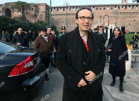 Italian Actor-director Roberto Benigni Walks in the Courtyard of the 15th-century Sforza Castle to Attend the Funeral of Italian Author Umberto Eco in Milan Italy 23 February 2016 the Non-religious Funeral of the Writer and Academic is to Be Held in the Courtyard Eco Died at the Age of 84 on 19 February After a Battle with Cancer Italy Milan
