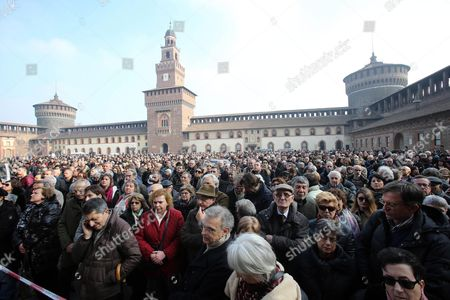 People Attend the Funeral of Italian Author Umberto Eco in the Courtyard of the 15th-century Sforza Castle in Milan Italy 23 February 2016 the Non-religious Funeral of the Writer and Academic is to Be Held in the Courtyard Eco Died at the Age of 84 on 19 February After a Battle with Cancer Italy Milan