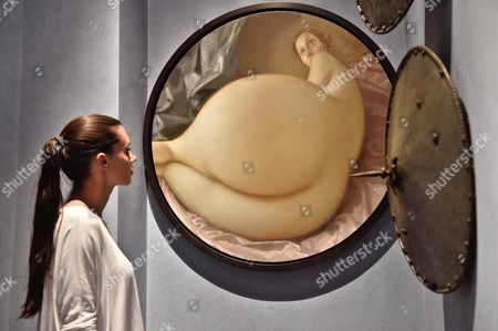 Stock Photo of The Painting 'Nude in a Convex Mirror' by Us Artist John Currin is on Display During an Exhibition Held at Stefano Bardini Museum in Florence Italy 10 June 2016 the Event Runs From 13 June to 02 October Italy Florence