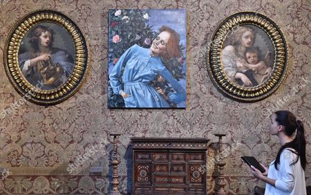 Stock Picture of The Painting 'Bent Lady' (c) by Us Artist John Currin is on Display During an Exhibition Held at Stefano Bardini Museum in Florence Italy 10 June 2016 the Event Runs From 13 June to 02 October Italy Florence