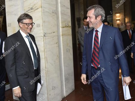 Foreign Ministry Undersecretary Benedetto Della Vedova (r) Meets Microsof's Honorary President and Co-founder Bill Gates at Farnesina Palace in Rome Italy 28 June 2016 Italy Rome