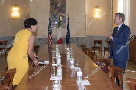 Italian Foreign Affairs Undersecretary Benedetto Della Vedova (r) Meets Us Secretary of Commerce Penny Pritzker (l) at the Farnesina Palace in Rome Italy 13 July 2016 Italy Rome