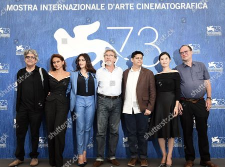 Stock Photo of Members of the 'Orizzonti' Jury (l-r) Jose Maria Prado Nelly Karim Valentina Lodovini French Director Robert Guediguian President of 'Orizzonti' Jury Chaitanya Tamhane Moon So-ri and Jim Hoberman Pose During a Photocall at the 73rd Venice Film Festival in Venice Italy 31 August 2016 the Festival Runs From 31 August to 10 September Italy Venice