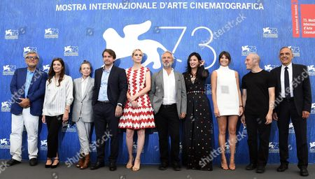 Members of the 'Venezia 73' Jury Team (l-r) Giancarlo De Cataldo Chiara Mastroianni Laurie Anderson Lorenzo Vigas Nina Hoss President of Juri British Director Sam Mendes Zhao Wei Gemma Arterton Joshua Oppenheimer and Festival Director Alberto Barbera Pose For a Photocall Ahead of the 73rd Annual Venice International Film Festival in Venice Italy 31 August 2016 the Festival Runs From 31 August to 10 September Italy Venice