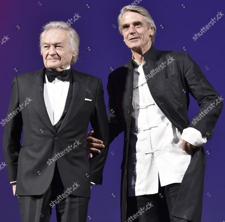 Polish Film Director Jerzy Skolimowski (l) Poses with British Actor Jeremy Irons During the Golden Lion For Lifetime Achievement Award Ceremony of the 73rd Annual Venice International Film Festival in Venice Italy 31 August 2016 the Festival Runs From 31 August to 10 September Italy Venice