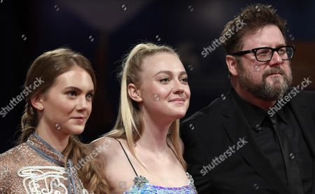 (l-r) British Actress Emilia Jones Us Actress Dakota Fanning and Dutch Film Director and Screenwriter Martin Koolhoven Arrive For the Premiere of 'Brimstone' During the 73rd Venice Film Festival in Venice Italy 03 September 2016 the Movie is Presented in Official Competition 'Venezia 73' at the Festival Running From 31 August to 10 September Italy Venice