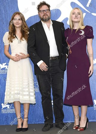 (l-r) British Actress Emilia Jones Dutch Film Director and Screenwriter Martin Koolhoven and Us Actress Dakota Fanning Pose During a Photocall For 'Brimstone' at the 73rd Annual Venice International Film Festival in Venice Italy 03 September 2016 the Festival Runs From 31 August to 10 September Italy Venice