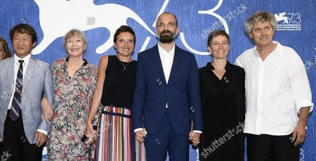 (l-r) Japanese Actor Shin Kubota French Actress Marina Vlady Italian Directors Massimo D'anolfi and Martina Parenti Sabina Scharer and Felix Rohner Pose During a Photocall For 'Spira Mirabilis' at the 73rd Annual Venice International Film Festival in Venice Italy 04 September 2016 the Festival Runs From 31 August to 10 September Italy Venice