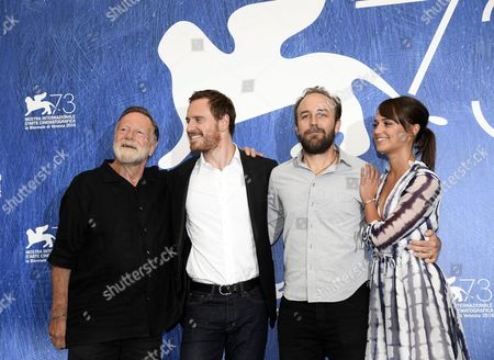 (l-r) Australian Actor Jack Thompson German-irish Actor Michael Fassbender Us Director Derek Cianfrance and Swedish Actress Alicia Vikander Pose During a Photocall For 'The Light Between Oceans' at the 73rd Venice Film Festival in Venice Italy 01 September 2016 the Movie is Presented in the Official Competition 'Venezia 73' at the Festival Running From 31 August to 10 September Italy Venice
