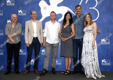 (l-r) Bulgarian Actor Valentin Ganev Belgian Actor Bruno Georis Belgian Director Peter Brosens Us Director Jessica Woodworth Belgian Actor Peter Van Den Begin and Belgian Actress Lucie Debay Pose During a Photocall For 'King of the Belgians' at the 73rd Annual Venice International Film Festival in Venice Italy 03 September 2016 the Festival Runs From 31 August to 10 September Italy Venice