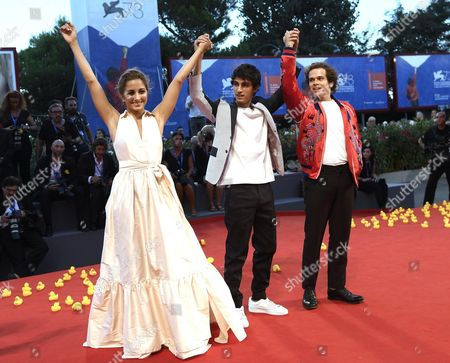 (l-r) Italian Actors Blu Yoshimi Luigi Fedele and Brando Pacitto Arrive For the Premiere of 'Piuma' at the 73rd Annual Venice International Film Festival in Venice Italy 05 September 2016 the Festival Runs From 31 August to 10 September Italy Venice