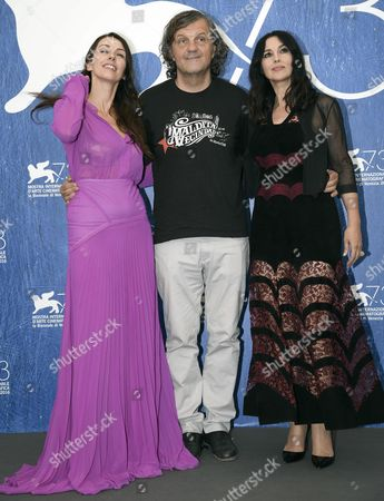(l-r) Serbian Actress Sloboda Micalovic Bosnian Film Maker Emir Kusturica and Italian Actress Monica Bellucci Pose During a Photocall For 'Na Mlijecnom Putu' (on the Milky Road) During the 73rd Venice Film Festival in Venice Italy 09 September 2016 the Festival Runs From 31 August to 10 September Italy Venice