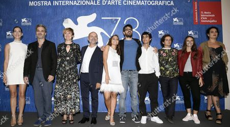 Italian Director Roan Johnson (5-r) Poses with Cast Members (l-r) Argentinian Actress Clara Alonso Italian Actors Francesco Colella Michela Cescon Sergio Pierattini Blu Yoshimi Luigi Fedele Brando Pacitto Italian Singer-songwriter Francesca Michielin and Italian Actress Francesca Turrini During a Photocall For 'Piuma' at the 73rd Annual Venice International Film Festival in Venice Italy 05 September 2016 the Movie is Presented in the Official Competition Venezia 73 at the Festival That Runs From 31 August to 10 September Italy Venice