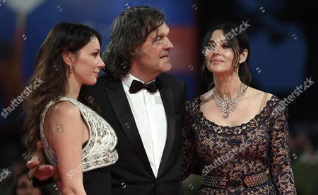 From (l-r) Serbian Actress Sloboda Micalovic Bosnian Film Maker Emir Kusturica and Italian Actress Monica Bellucci Arrive For the Premiere of 'Na Mlijecnom Putu' (on the Milky Road) at the 73rd Venice Film Festival in Venice Italy 09 September 2016 the Festival Runs From 31 August to 10 September Italy Venice