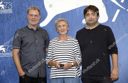 Stock Image of (l-r) Austrian Actors Andreas Lust Ingrid Burkhard and Italian Director Ronny Trocker Pose During a Photocall For 'Die Einsiedler' (the Eremites) at the 73rd Annual Venice International Film Festival in Venice Italy 02 September 2016 the Festival Runs From 31 August to 10 September Italy Venice