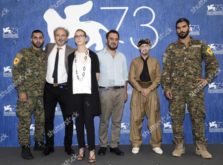(l-r) Swedish Foreign Fighter Rafael Kardari Italian Directors Claudio Jampaglia Benedetta Argentieri and Bruno Chiaravallotti Us Foreign Fighter Joshua Bell and Italian Foreign Fighter Karim Franceschi Pose During a Photocall For the Documentary 'Our War' at the 73rd Annual Venice International Film Festival in Venice Italy 09 September 2016 the Festival Runs From 31 August to 10 September Italy Venice