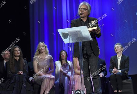 Filipino Film Maker Lav Diaz (c) Gives a Speech Holding the Golden Lion Award For His Movie 'Ang Babaeng Humayo' (the Woman who Left) During the Awarding Ceremony of the 73rd Annual Venice International Film Festival in Venice Italy 10 September 2016 the Festival Runs From 31 August to 10 September Italy Venice