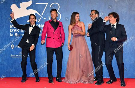 Stock Image of (l-r) Actors/cast Members Joseph Haro Taylor Frey Matilda Lutz Director Gabriele Muccino and Brando Pacitto Arrive For the Premiere of 'L'estate Addosso' During the 73rd Annual Venice International Film Festival in Venice Italy 01 September 2016 the Festival Runs From 31 August to 10 September Italy Venice