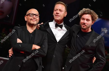 Stock Picture of Italian Actor Rocco Siffredi (c) and French Directors Thierry Demaiziere (l) and Alban Teurlai (r) Arrive For the Premiere of 'Rocco' at the 73rd Annual Venice International Film Festival in Venice Italy 05 September 2016 the Festival Runs From 31 August to 10 September Italy Venice
