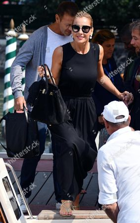 Stock Picture of Italian Actor Rocco Siffredi (back) and His Wife Rozsa Tassi (rosa Tassi) Arrive at the Lido Beach at the 73rd Annual Venice International Film Festival in Venice Italy 07 September 2016 the Festival Runs From 31 August to 10 September Italy Venice