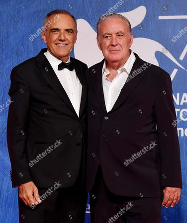 Italian Director and Journalist Michele Santoro (r)and Festival Director Alberto Barbera (l) Arrive For the Premiere of 'Robinu' at the 73rd Annual Venice International Film Festival in Venice Italy 07 September 2016 the Festival Runs From 31 August to 10 September Italy Venice