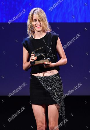 Stock Image of Belgian Film Maker Fien Troch Holds the Award For the Best Direction of Her Movie 'Home' During the Awarding Ceremony of the 73rd Annual Venice International Film Festival in Venice Italy 10 September 2016 the Festival Runs From 31 August to 10 September Italy Venice