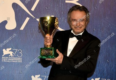 Argentinian Actor Oscar Martinez Holds the Volpi Award (coppa Volpi) For the Best Interpretation in the Movie 'El Ciudadano Ilustre' Directed by Mariano Cohn and Gaston Duprat During the Awarding Ceremony of the 73rd Annual Venice International Film Festival in Venice Italy 10 September 2016 the Festival Runs From 31 August to 10 September Italy Venice