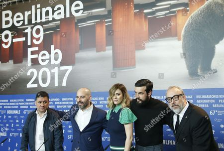 (L-R) Actors Secun de la Rosa, Jaime Ordonez, Blanca Suarez, Mario Casas and  Spanish director Alex de la Iglesia  attends the press conference for 'El Bar' (The Bar) during the 67th annual Berlin Film Festival, in Berlin, Germany, 15 February 2017. The movie is presented in the Official Competition at the Berlinale that runs from 09 to 19 February.