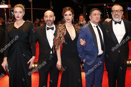 (L-R) Producer Carolina Bang, Spanish actor Jaime Ordonez, Spanish actress Blanca Suarez, Spanish actor Secun de la Rosa and Spanish director Alex de la Iglesia arrive for the premiere of 'El Bar' (The Bar) during the 67th annual Berlin Film Festival, in Berlin, Germany, 15 February 2017. The movie is presented in the Official Competition at the Berlinale that runs from 09 to 19 February.