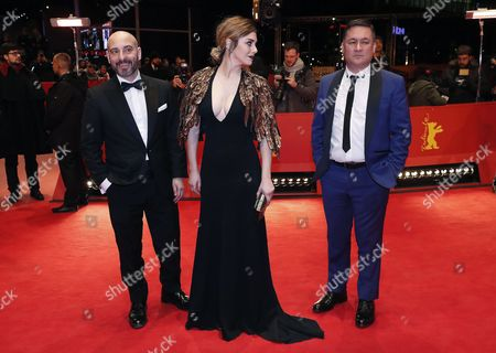 (L-R) Spanish actor Jaime Ordonez, Spanish actress Blanca Suarez and Spanish actor Secun de la Rosa arrive for the premiere of 'El Bar' (The Bar) during the 67th annual Berlin Film Festival, in Berlin, Germany, 15 February 2017. The movie is presented in the Official Competition at the Berlinale that runs from 09 to 19 February.
