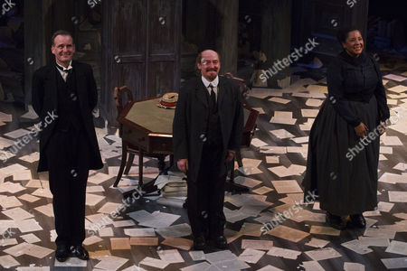 Tim Wallers (Bennett), Forbes Masson (Lenin) and Sarah Quist (Nadya) during the curtain call