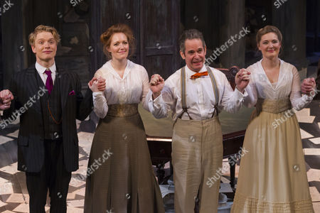 Freddie Fox (Tristan Tzara), Clare Foster (Cecily), Tom Hollander (Henry Carr) and Amy Morgan (Gwendolen) during the curtain call