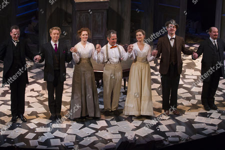 Tim Wallers (Bennett), Freddie Fox (Tristan Tzara), Clare Foster (Cecily), Tom Hollander (Henry Carr), Amy Morgan (Gwendolen), Peter McDonald (James Joyce) and Forbes Masson (Lenin) during the curtain call