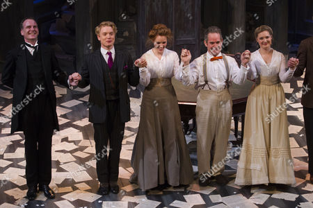Tim Wallers (Bennett), Freddie Fox (Tristan Tzara), Clare Foster (Cecily), Tom Hollander (Henry Carr) and Amy Morgan (Gwendolen) during the curtain call