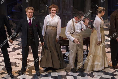 Stock Image of Freddie Fox (Tristan Tzara), Clare Foster (Cecily), Tom Hollander (Henry Carr) and Amy Morgan (Gwendolen) during the curtain call