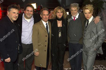 Patrick Marber (Director), David Babani (Producer), Tom Hollander (Henry Carr), Sonia Friedman (Producer), Tom Stoppard (Author) and Freddie Fox (Tristan Tzara)
